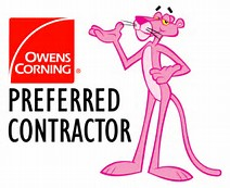 Ownes Corning Logo with Pink Panther illustration
